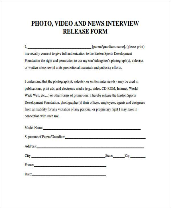 9+ Interview Release Form Samples - Free Sample, Example Format