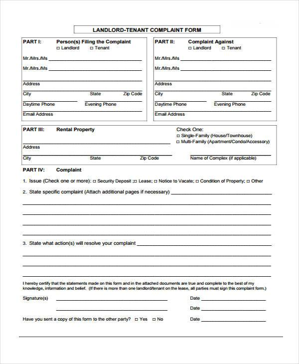 Sample Tenant Complaint Forms - 8+ Free Documents in Word, PDF