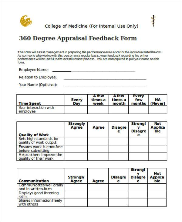 Sample 360 degree feedback forms 7 free documents in for 360 degree performance review template