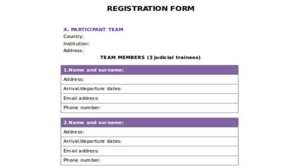 Free 35 Sample Registration Forms Word