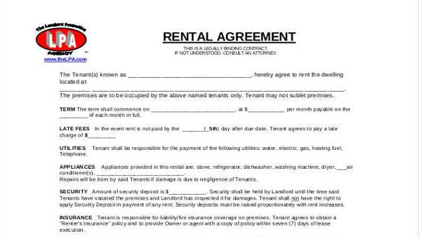 Free 7 Commercial Rental Agreement Form Samples In Sample