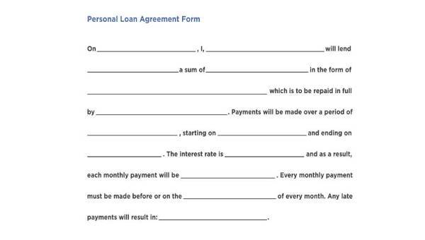 7 Personal Loan Agreement Form Samples Free Sample Example