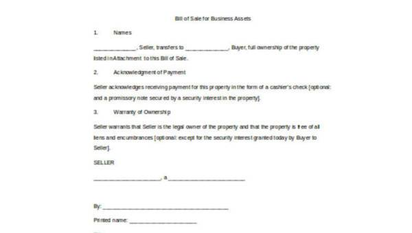 Sample Business Bill Of Sale Forms 7 Free Documents In Word Pdf