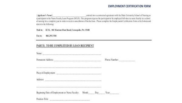 employment certification samples - Monza berglauf-verband com
