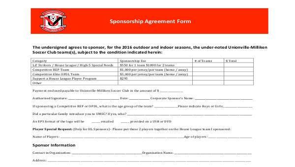 7 Sponsorship Agreement Form Samples Free Sample Example Format