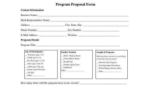 8-Program-Proposal-Form-Samples Sample Application Form For A Arts Program on