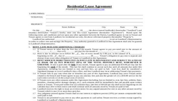 Free 8 Residential Lease Agreement Form Samples In Sample