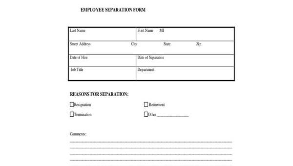 Sample Employment Separation Forms 8 Free Documents In Pdf
