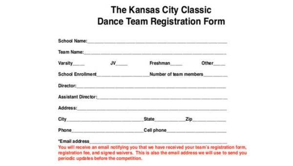 8  team registration form samples