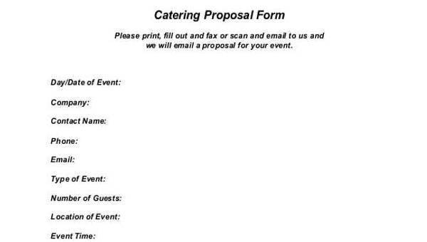 8 Catering Proposal Form Samples Free Sample Example Format Download
