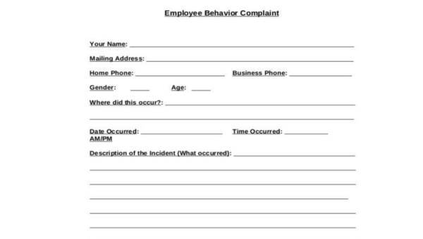 Free 9 Sample Employee Complaint Forms In Ms Word Pdf
