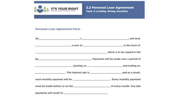 Personal Agreement Form Samples 9 Free Documents In Pdf