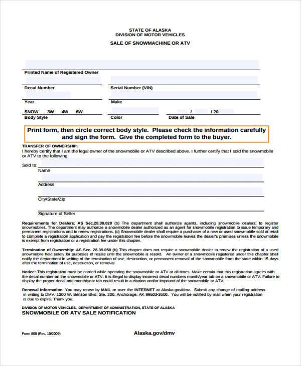free 7  sample atv bill of sale forms in pdf