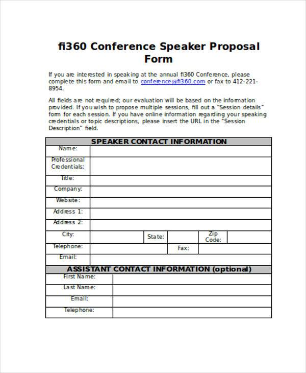 FREE 9+ Conference Proposal Form Samples In Sample