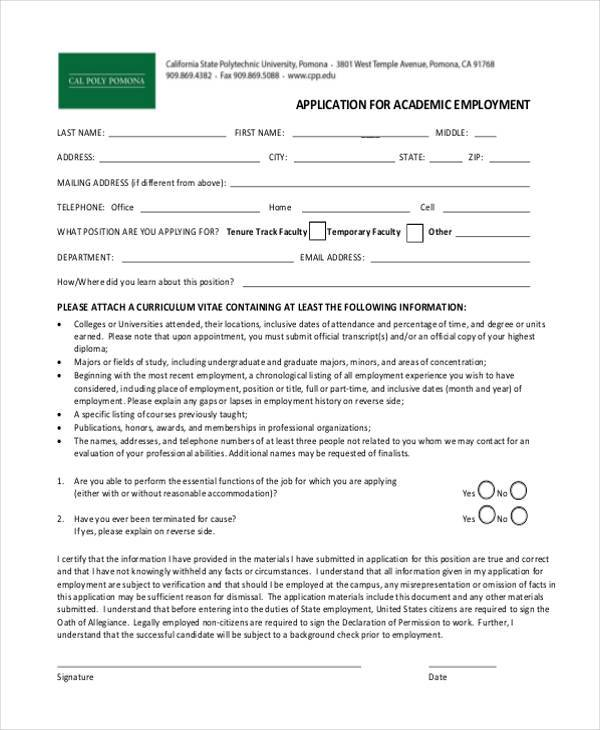 academic employment application form