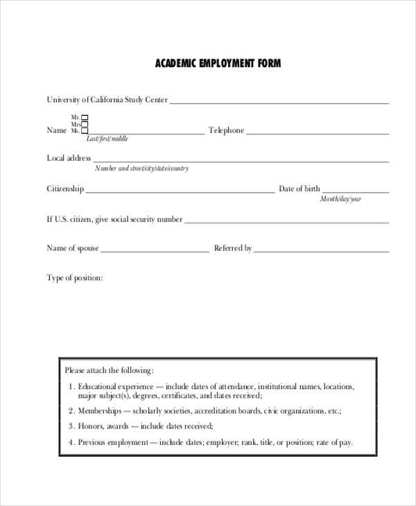 academic employment form in pdf