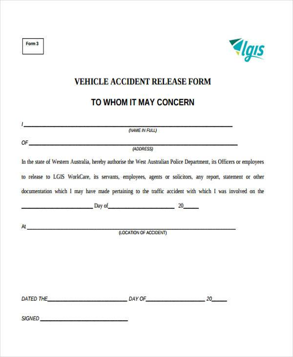 Vehicle Accident Release Form