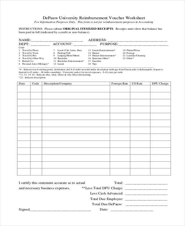 Sample Printable Accounting Forms   Free Documents In Word Pdf
