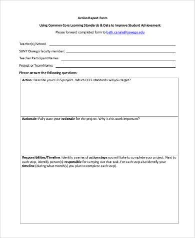 action report form in pdf