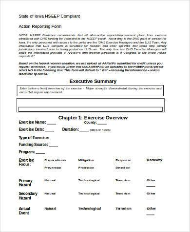 action report form in word format