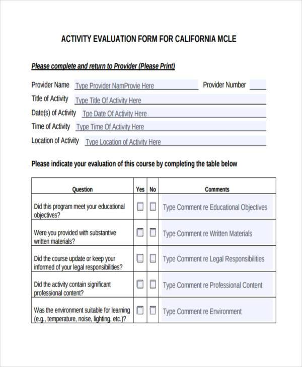 evaluation form activity  FREE 6+ Sample Activity Evaluation Forms in PDF | WORD