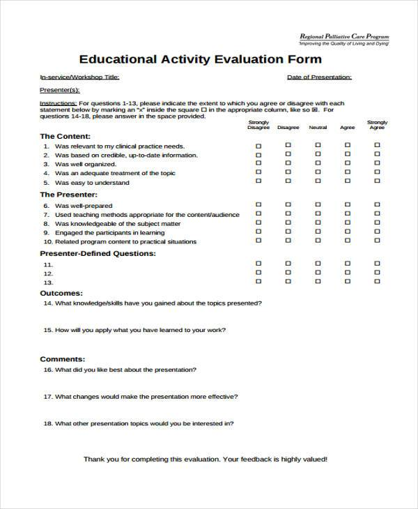 Activity Evaluation Form Samples  Free Sample Example Format