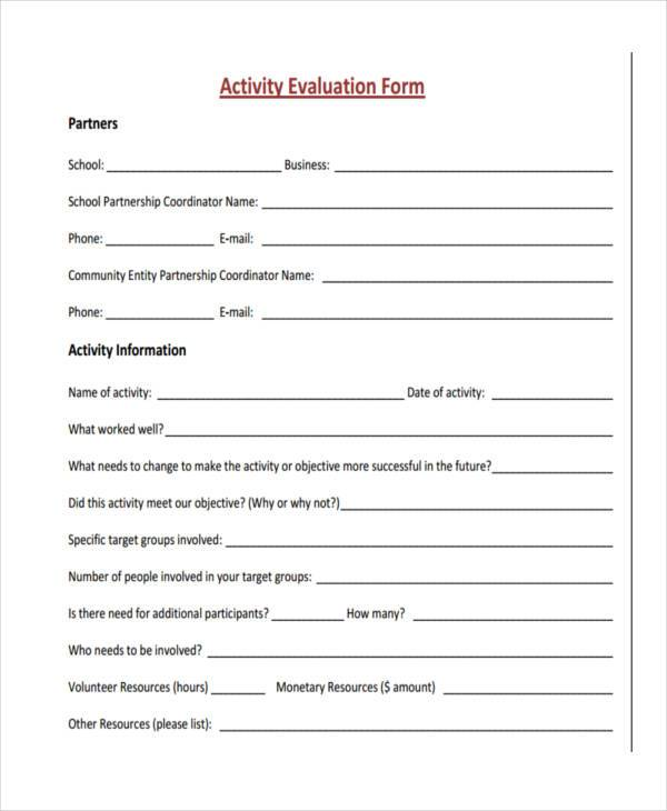 activity evaluation form in pdf