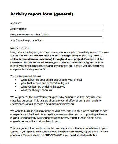 Sample Activity Report Forms   Free Documents In Word Pdf