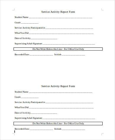 activity report form in word format