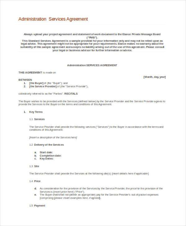 administration agreement form in word
