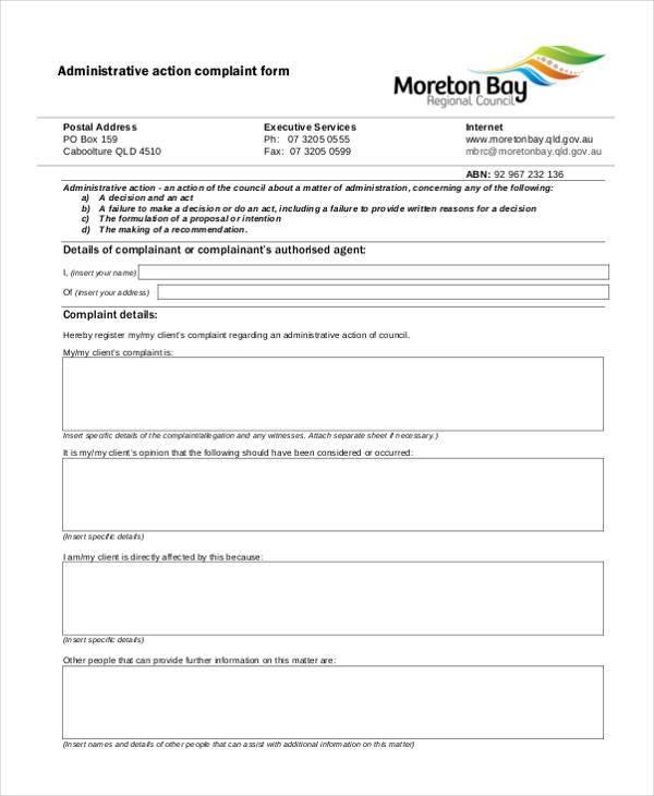 administrative action complaint form