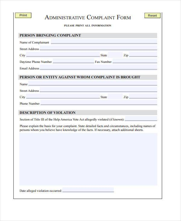 administrative complaint form sample