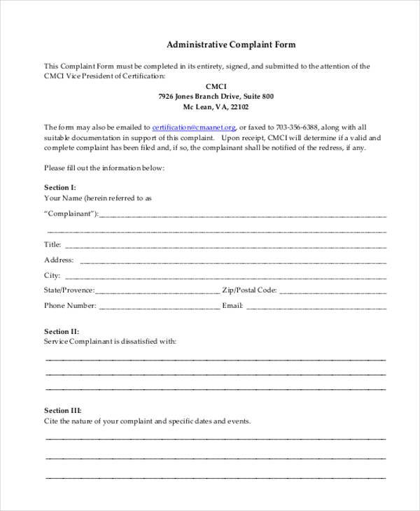 administrative complaint form in pdf