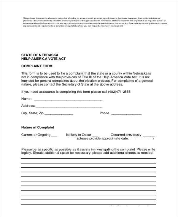 administrative complaint procedure form