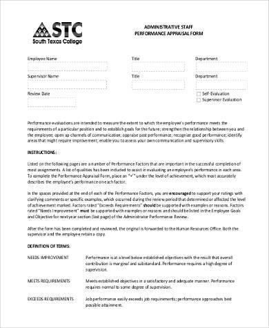 administrative staff performance appraisal form