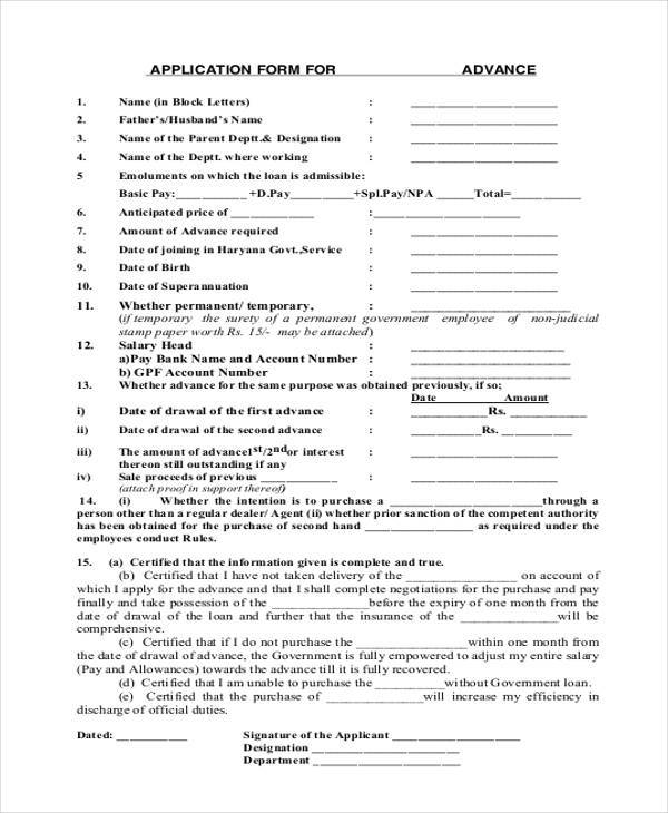 advance security application form