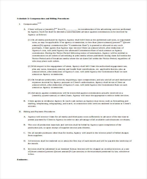 advertising agency contract form