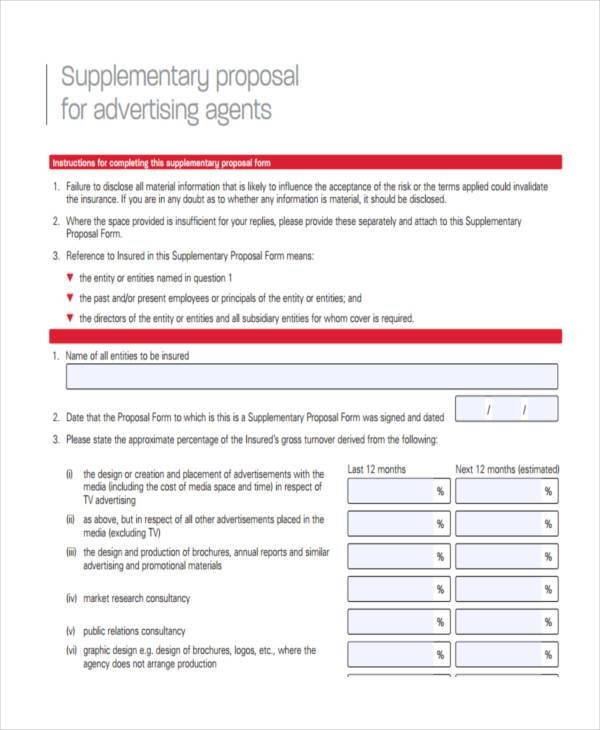 advertising and supplementary proposal form