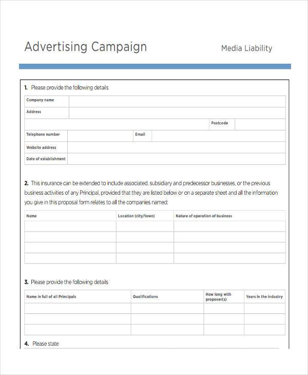 9 Advertising Proposal Form Samples Free Sample Example Format