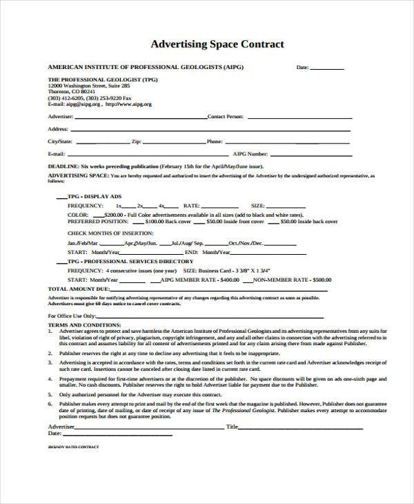 Sample Advertising Contract Forms   Free Documents In Word Pdf