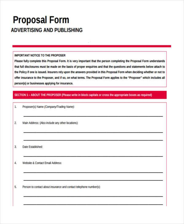 advertising proposal form sample