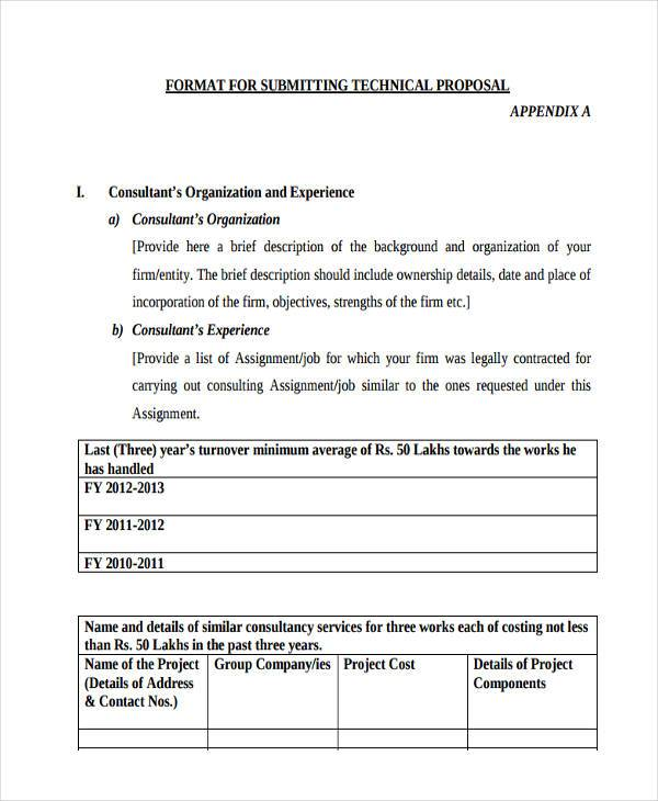 advertising submitting technical proposal form