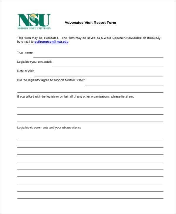 advocates visit report form