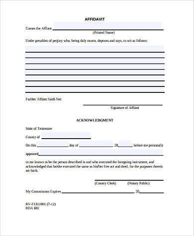 affidavit form for general information