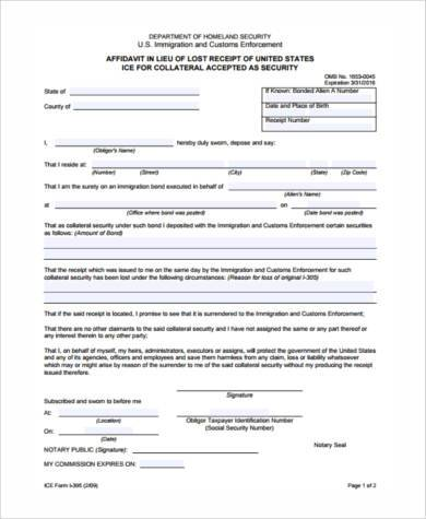 affidavit support of enforcement form