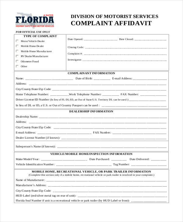 Sample Complaint Affidavit Forms - 7+ Free Documents in Word