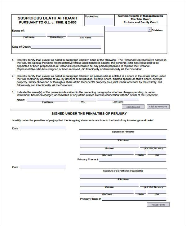 Sample affidavit of death forms 7 free documents in word pdf affidavit of death form in pdf yelopaper Image collections