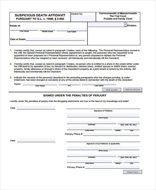 affidavit of death form in pdf