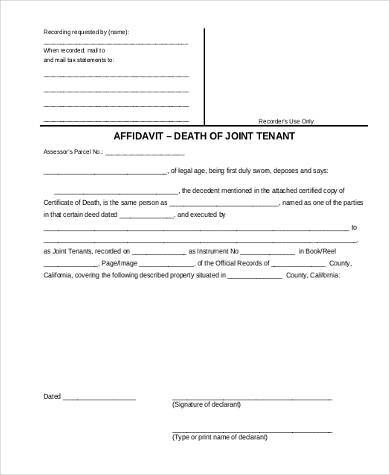 affidavit of death of joint tenant form