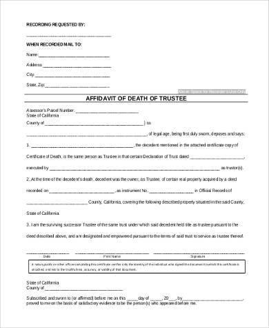 affidavit of death of trustee form